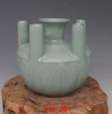 old China antique Song Dynasty plum Green glaze Five tubes bottle