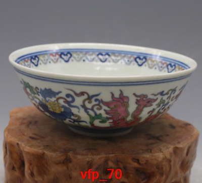 old China antique Qing Dynasty Blue and white Painted peony phoenix Small bowl