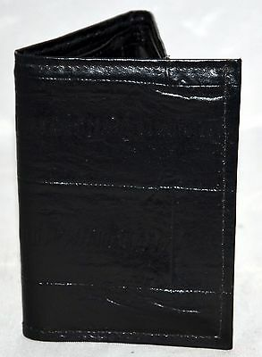 Black Eel Grain Cowhide Small Trifold Wallet Made in USA