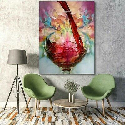 Canvas Oil Painting Home Decor Print Abstract Decorative Red Wine Glass Gift