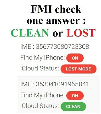 Apple ID - FMI / iCloud Clean / Lost Mode / Erased - Check Service - IMEI or S/N