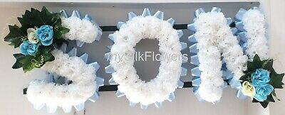 SON Artificial Silk Funeral Tribute Any 3 Letter Name Flower Wreath MUM BRO DAD