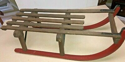 Antique Vtg Sled Bent Wood & Metal Runners Snow Winter Childs Sleigh Primitive