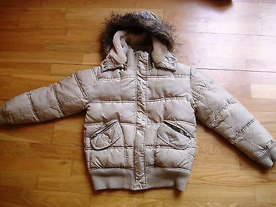 "Fab girls winter puffa hooded jacket 31-32"" age 11 approx vgc"