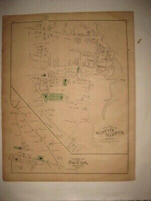 Antique 1879 Scituate Harbor Center Plymouth County Massachusetts Handcolor Map