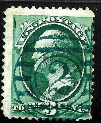 """Fancy Cancels """"Blue 2"""" SON 3 Cent Green Banknote 1871-83 US 69C82"""