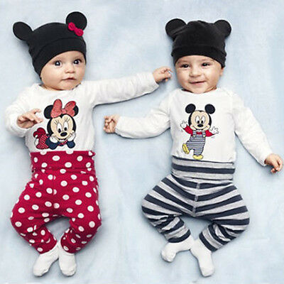 3Pcs Baby Boys Girls Mickey Mouse Long Sleeve Romper Pants Hat Jumpsuit Outfits
