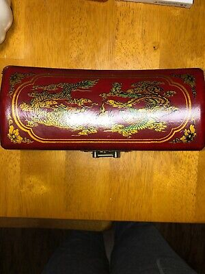 Marked Old China Red Lacquerware Painting Dynasty Palace Dragon Storage Box