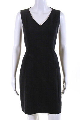 Elie Tahari Womens V Neck Sleeveless A Line Dress Black Size 8