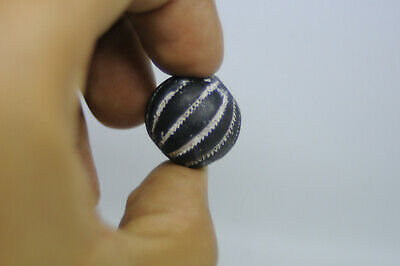 Very Rare-Ancient Nordic Viking BEAD Decorated Globe Pendant Ca 950 Ad