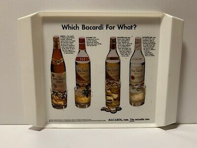 "Vintage 1972 Bacardi Rum 14.5"" x 11 Plastic Serving Tray Antique Advertising"