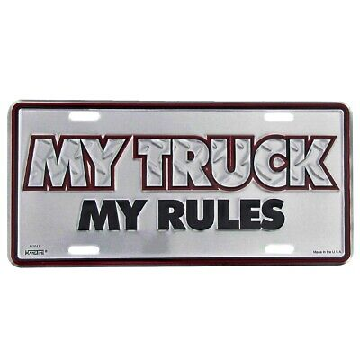 My Truck My Rules Diamond Plate License Plate US Made Embossed Aluminum Auto Tag