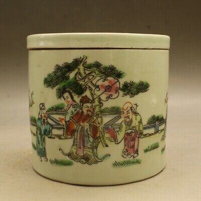 Collect Chinese Famille-rose Porcelain 3 Longevity God Fu Lu Shou Life Tea-Caddy