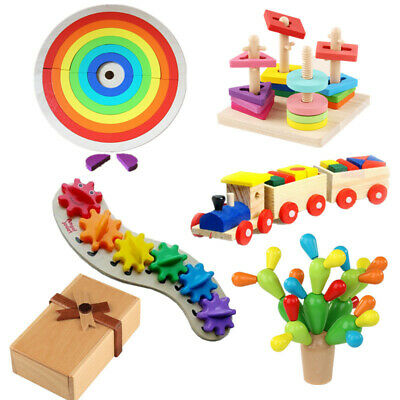 Baby Wooden Building Game Toys Kids Montessori Early Educational Learning Gift