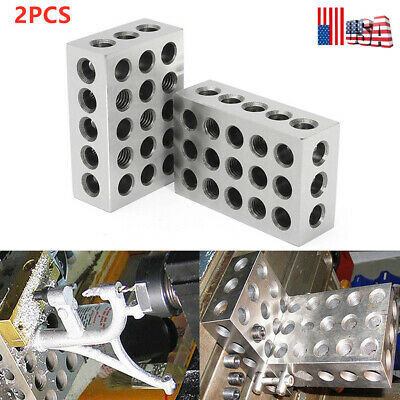 2 x Matched Pair Ultra Precision 1-2-3 Blocks 23 Holes .0001'' Machinist NEW US