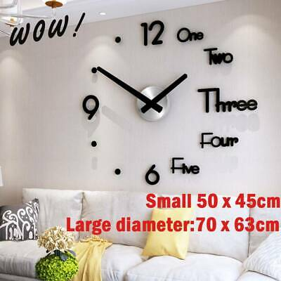 Wall Clock Large DIY 3D Roman Numerals Mirrors Surface Luxury Big Art Clock UK
