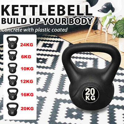 Vinyl Kettlebell Weight Set & Stand Gym Fitness/Strength Training 8kg to 20kg