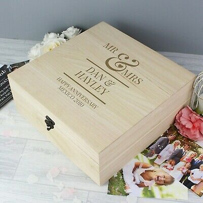 Personalised Wooden Mr & Mrs Large Keepsake Box Wedding Anniversary Valentine's