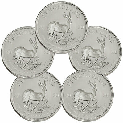 Lot of 5 2020 South Africa 1 oz Silver Krugerrand R1 Coins BU SKU60398