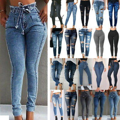 Women High Waist Denim Skinny Jeans Jeggings Ripped Stretch Pant Buttons Trouser