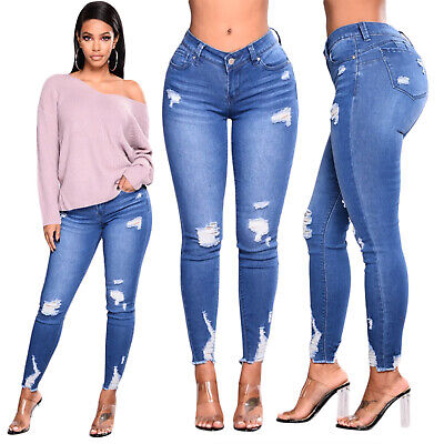 Women's High Waisted Stretchy Skinny Denim Jeans Jeggings Pants Frayed Trousers