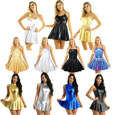 Women Lady Shiny Metallic Flare Skater Dress Night Club Party A-Line Short Skirt