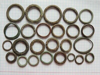 """Lot of 25 Ancient Celtic Proto Money Bronze Rings """"Coins"""" Circa 400 BC"""