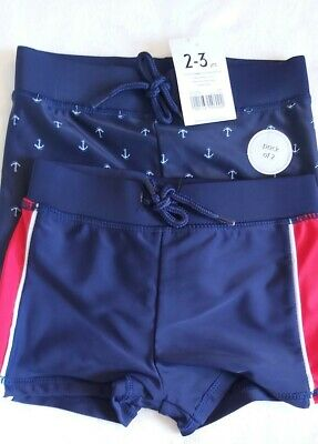 Ex store M/&S 2 pairs of swimming trunks shorts 12-18 18-24 months 2-3 years New