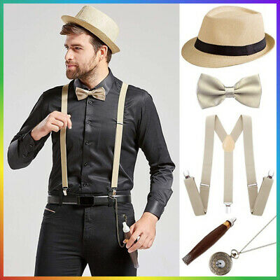 Men/'s Gangster 20/'s Gatsby Capone Pimp 1920/'s Deluxe Costume Accessory 5 Pc Kit