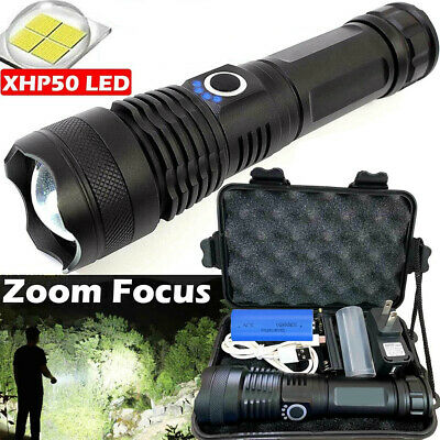 Super Bright 900000 Lumens XHP50 Zoom Flashlight LED Torch Headlamp Rechargeable