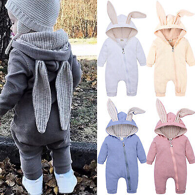 Infant Baby Girls Boys Zip Pajamas Outfits Romper Rabbit Ear Winter Warm Clothes