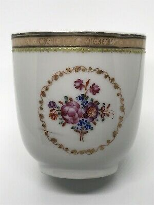 Old Chinese Export 18th 19th Century Floral Painted Porcelain Tea Cup No Saucer