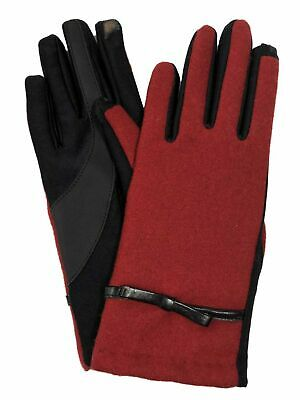 Isotoner Smart Touch Womens Red Bow Tech & Text Touchscreen Gloves