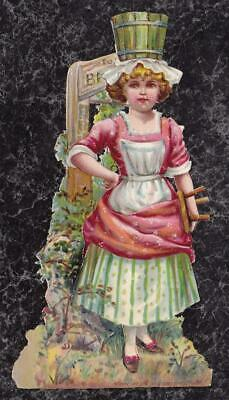 Large Victorian Die Cut Scrap Milk Maid with Pail on Head & Stool in Hand 7.5x4""
