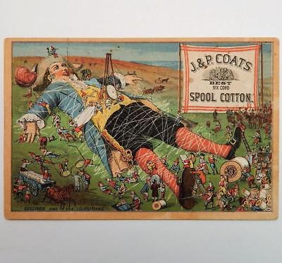 J & P Coats Black Spool Cotton Gulliver & The Liliputians Antique Trade Card