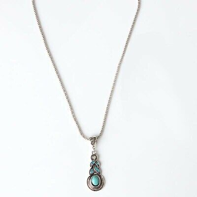 Fashion Turquoise Pendant Vintage Tibetan Silver Chain Jewelry Crystal Necklace