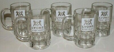 """Vintage (LYONS ROOT BEER) Glass Mugs 4.75"""" Tall - Lot of 5 Collectible Mugs"""