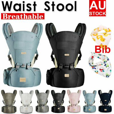Infant Baby Carrier With Hip Seat Stool Adjustable Wrap Sling Backpack Bibs