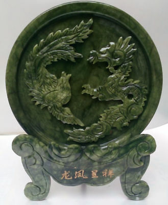 100% Chinese natural jade hand carved statue of dragon & phoenix