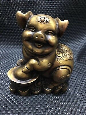 China old Lovely brass Foot on the ingot Make a fortune Fu pig