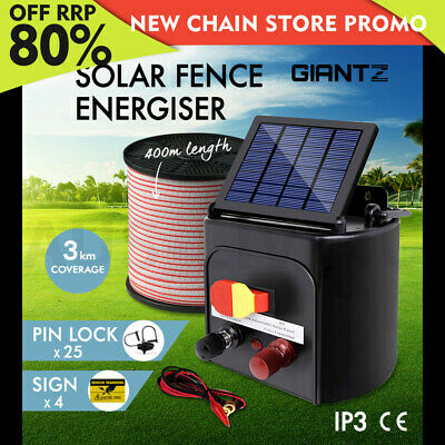 Giantz 3km Solar Electric Fence Energiser Energizer Battery Charger Cattle Horse