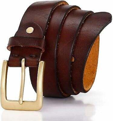 Men'S Belt 100% Full Grain Leather With Classic Prong Buckle For Dress Jeans Cas