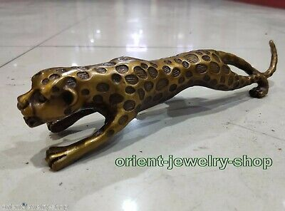 Chinese Fengshui pure red bronze Animal Zodiac Year Lucky Tiger leopard Statue