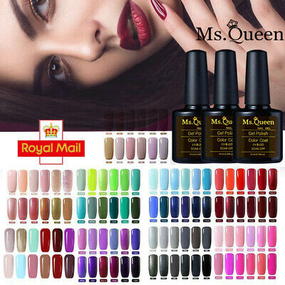 UV Gel MS QUEEN 10ml Soak Off 6 Colour Set Nail Gel Polish No Wipe Top Base Coat