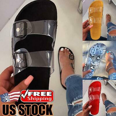 Women's Clear Slippers Ladies Summer Slip On Buckle Gladiator Sandals Flat Shoes