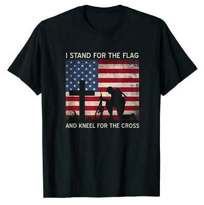 I Stand For The Flag And Kneel For The Cross T-Shirts M-3XL US Men's Shirt Trend