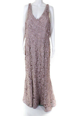 JS Collections Womens Blush Floral Lace V Neck Lace Gown Pink Size 16 10567571