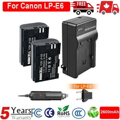 2X LP-E6 Replacement Battery + Charger For Canon EOS 5DS 5D Mark II III 6D 7D CA