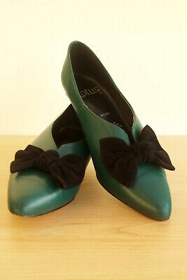 Lotus Court Shoes Size UK 7 EU 41 Green Leather Bow Stave
