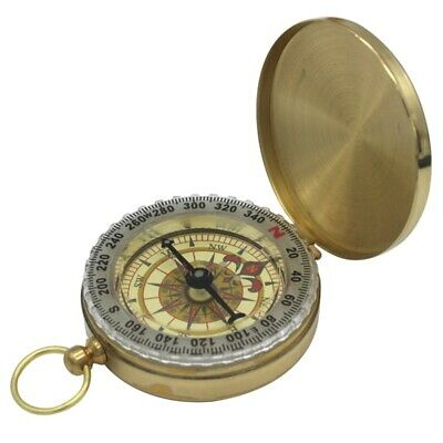 Brass Compass with Lid - Old Vintage Nautical Pocket Necklace Sport Outdoor Gift